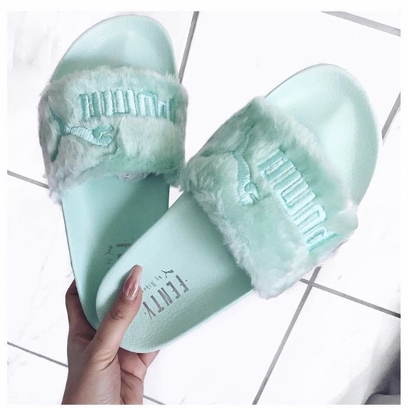 new arrival b113c def45 Fenty Puma Fur Slides (Bay/Mint Green)